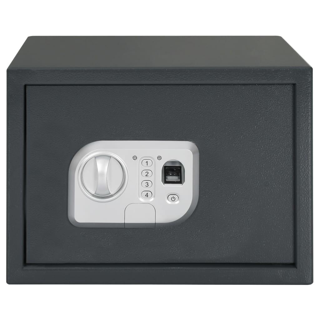 Seif digital cu amprentă, gri închis, 35 x 25 x 25 cm
