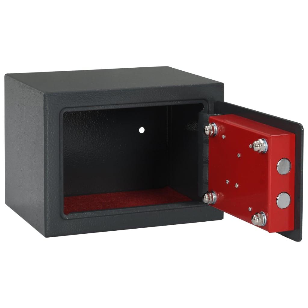 Seif mecanic, gri închis, 23 x 17 x 17 cm, oțel
