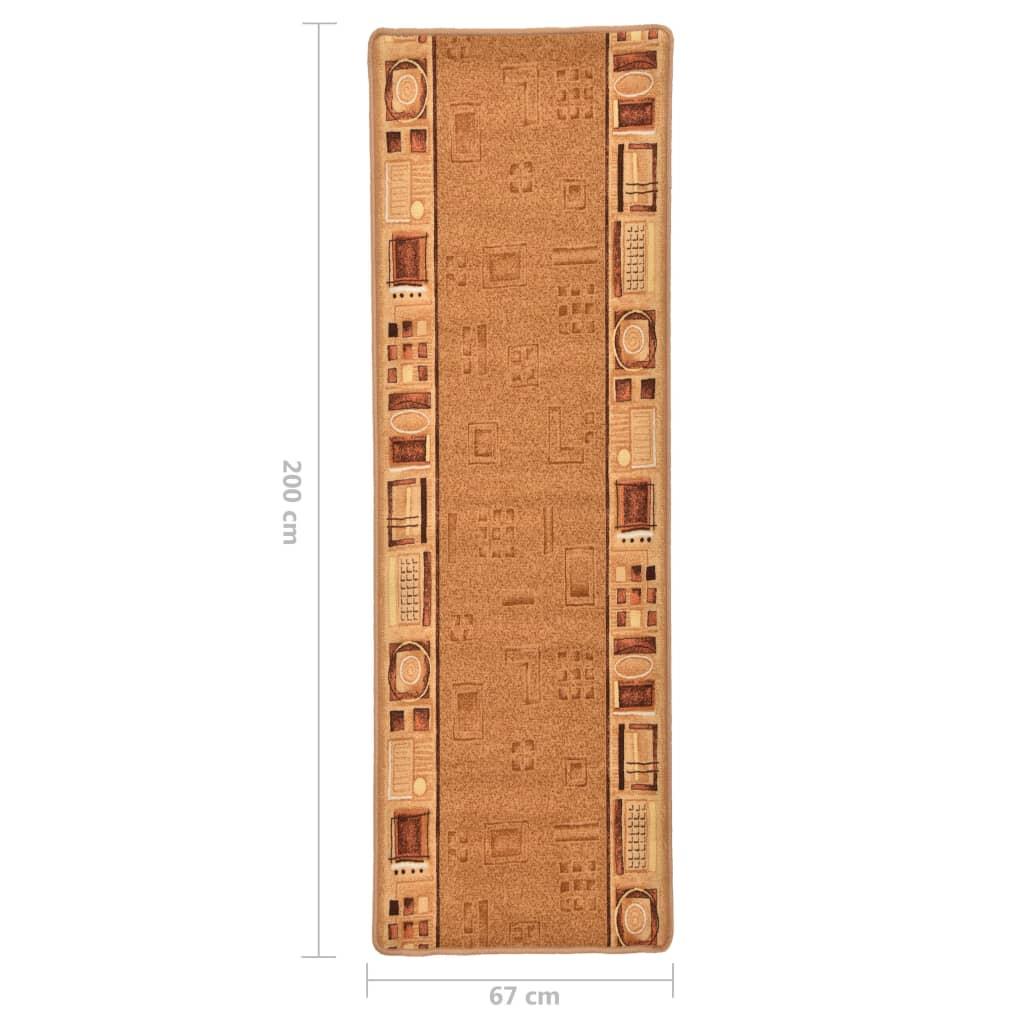 vidaXL Covor traversă, suport gel, bej, 67 x 200 cm
