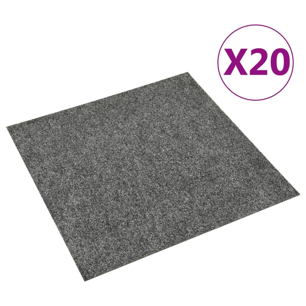 vidaXL Dale mochetă pentru podea, 20 buc., gri închis, 5 m²