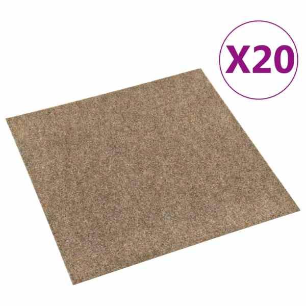 vidaXL Dale mochetă pentru podea, 20 buc., bej, 5 m²