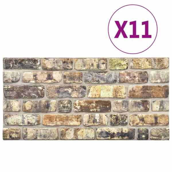 vidaXL Panouri de perete 3D, model cărămidă, multicolor, 11 buc., EPS