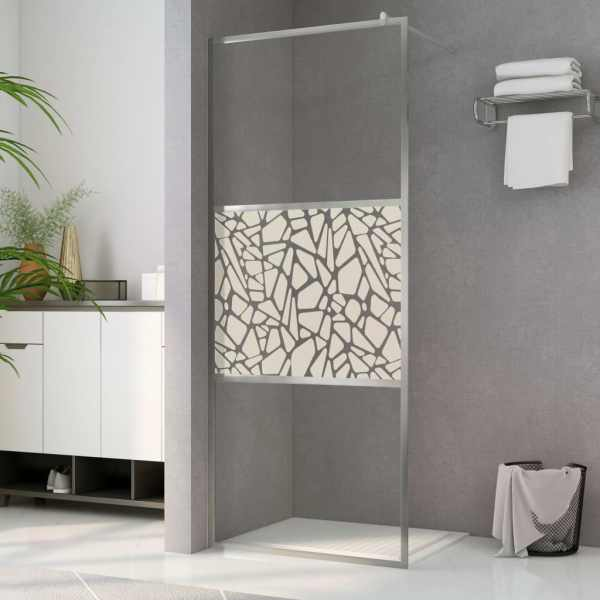vidaXL Paravan de duș walk-in, 115 x 195 cm, sticlă ESG, model piatră