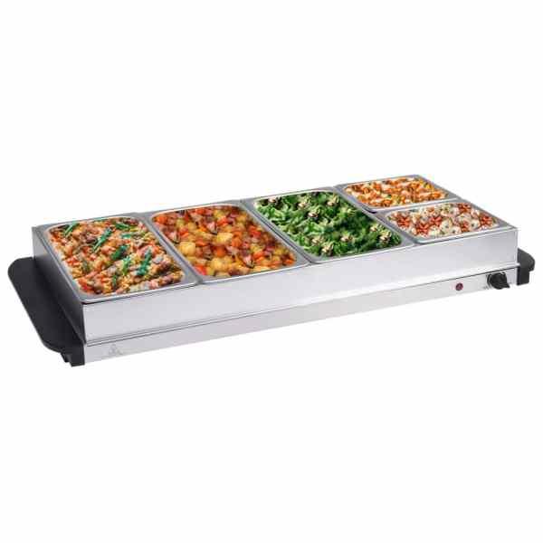 vidaXL Încălzitor de servire bufet 400 W, 3×2,5L+2x1L, oțel inoxidabil
