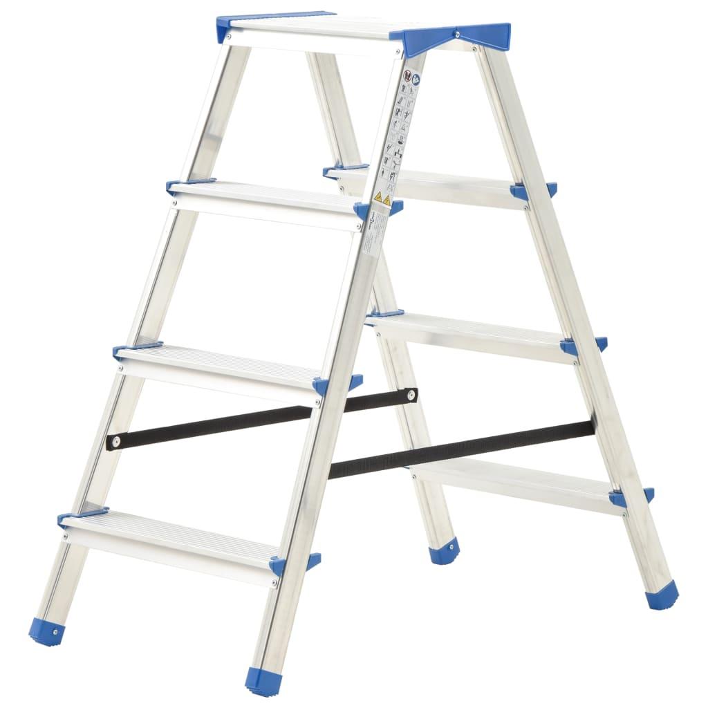 vidaXL Scară dublă cu 4 trepte, 90 cm, aluminiu