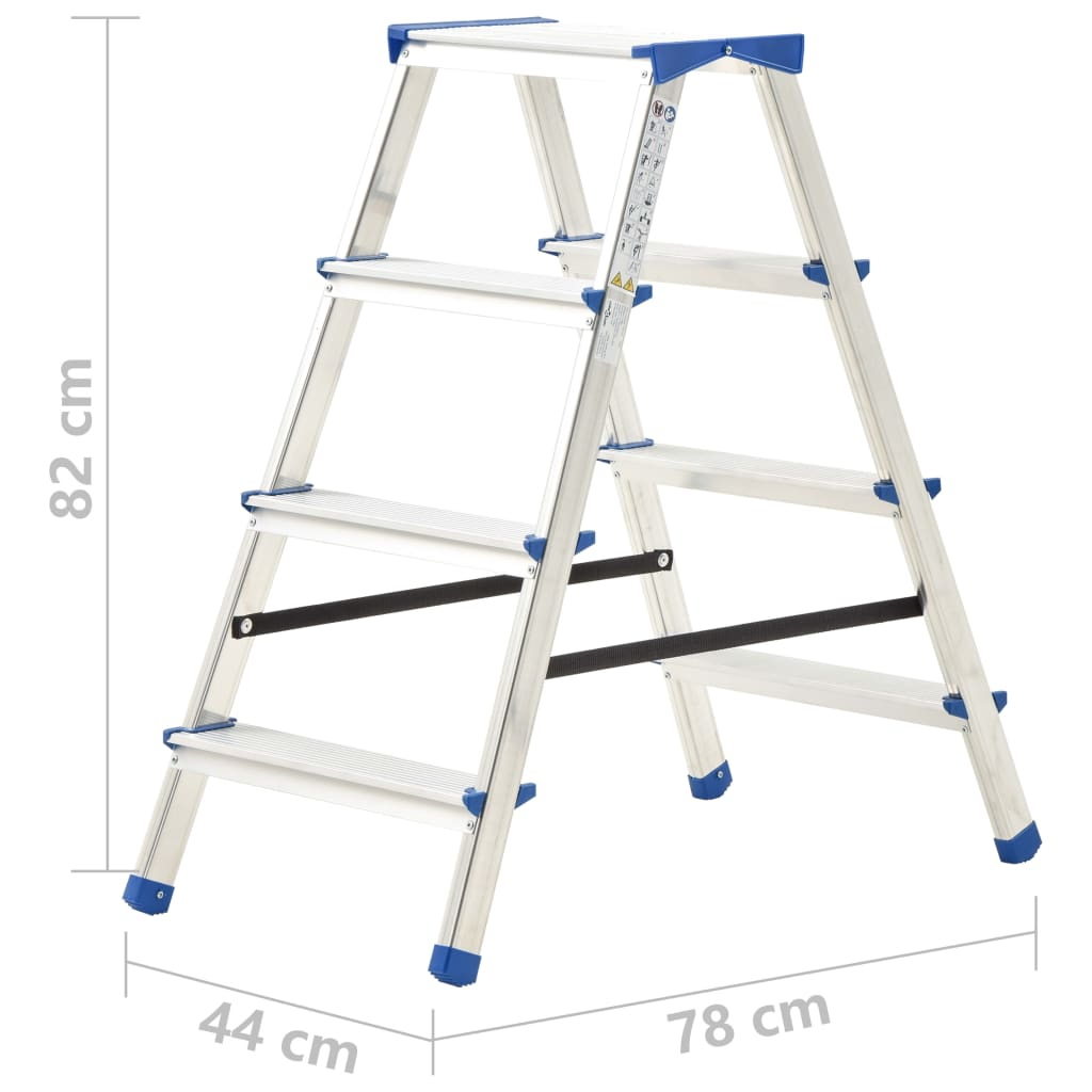 Scară dublă cu 4 trepte, 90 cm, aluminiu