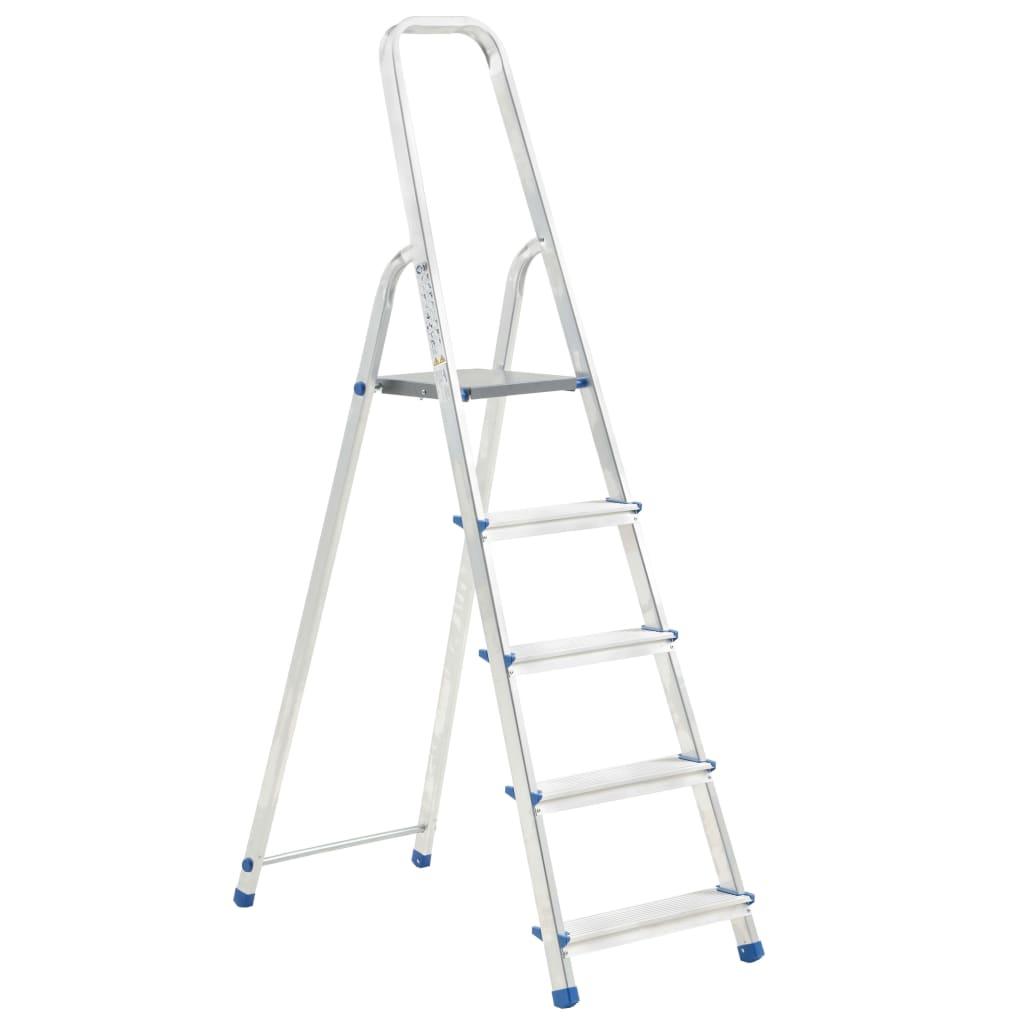 vidaXL Scară cu 5 trepte, 150 kg, aluminiu