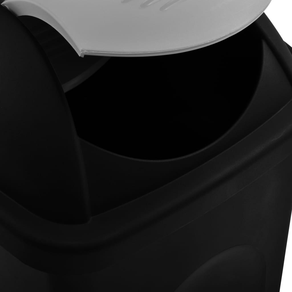 vidaXL Coș de gunoi, capac oscilant, negru și argintiu, 60L