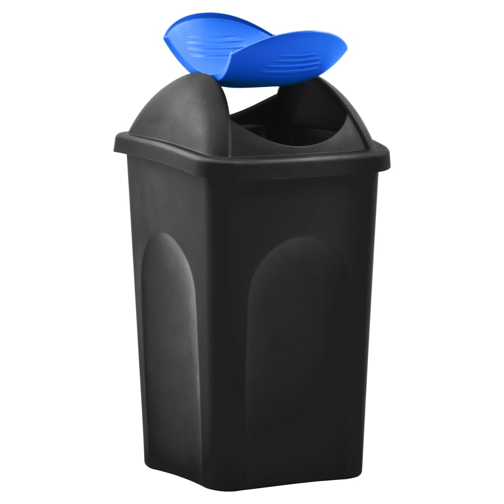 vidaXL Coș de gunoi cu capac oscilant, negru și albastru, 60L
