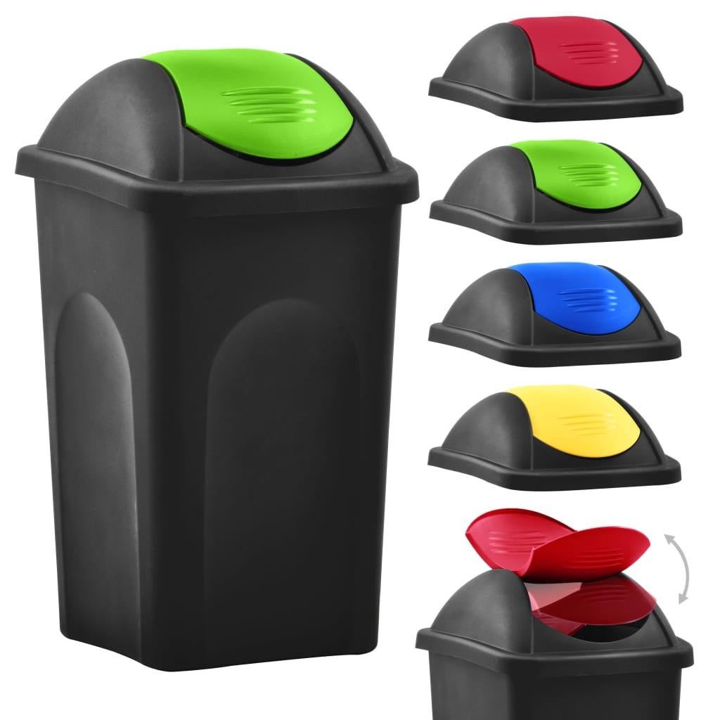Coș de gunoi cu capac oscilant, negru și verde, 60L