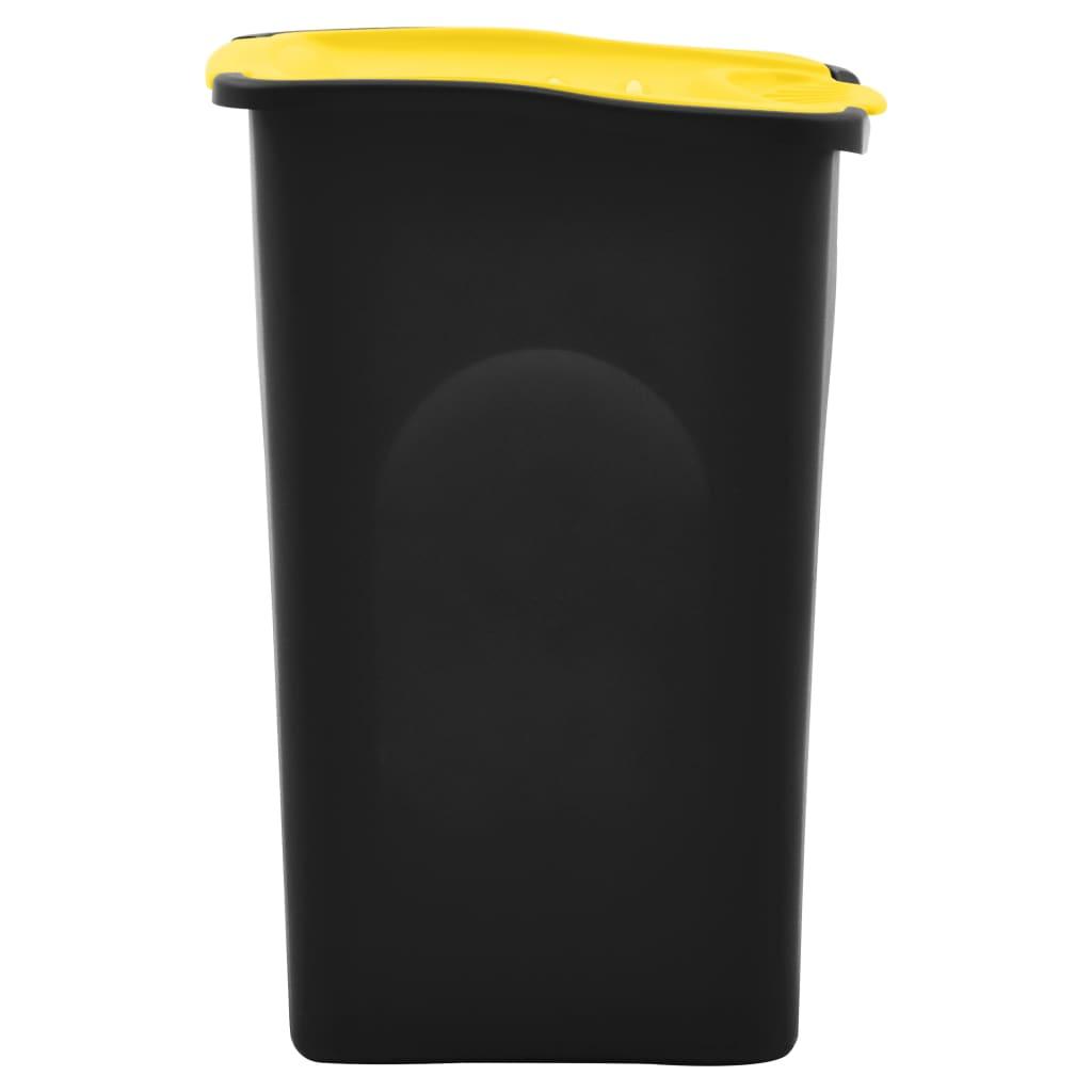 Pubelă capac cu balamale, negru și galben, 50L