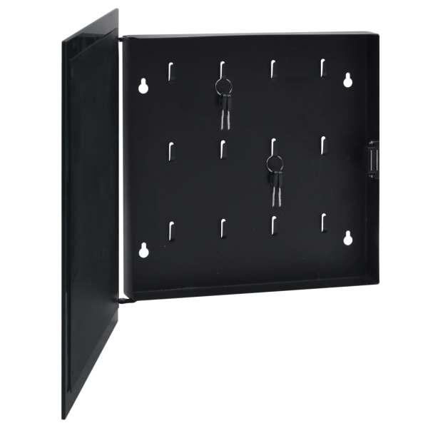 vidaXL Casetă pentru chei cu tablă magnetică, negru, 35 x 35 x 5,5 cm