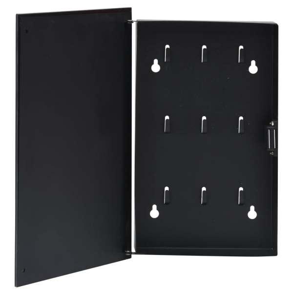 vidaXL Casetă pentru chei cu tablă magnetică, negru, 30 x 20 x 5,5 cm
