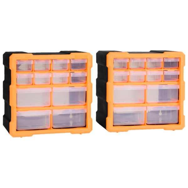 vidaXL Organizatoare cu 12 sertare, 2 buc., 26,5 x 16 x 26 cm