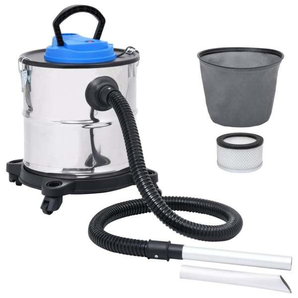 vidaXL Aspirator de cenușă filtru HEPA, 1200 W, 20 L, oțel inoxidabil