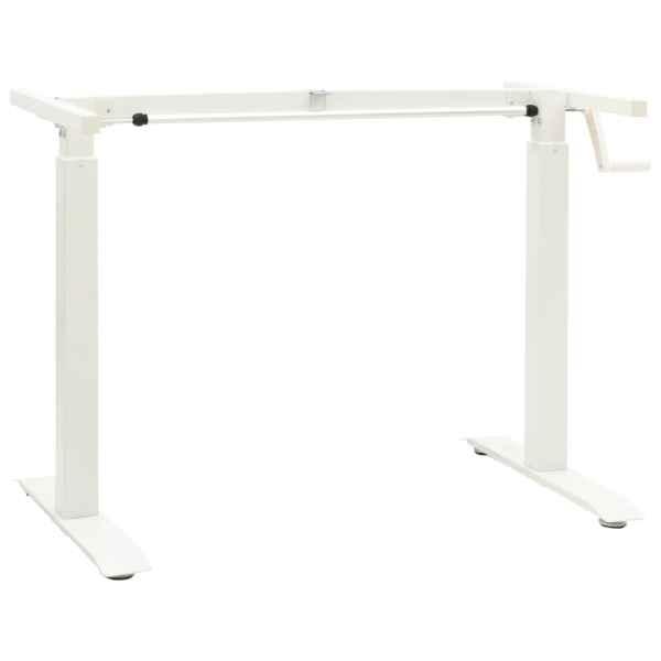 vidaXL Cadru de birou cu înălțime reglabilă manual, manivelă, alb
