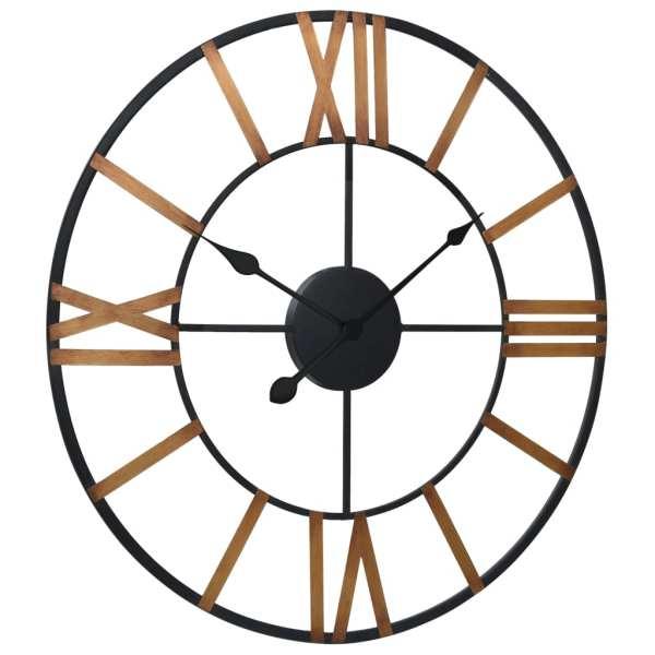 Ceas de perete, auriu și negru, 80 cm, metal