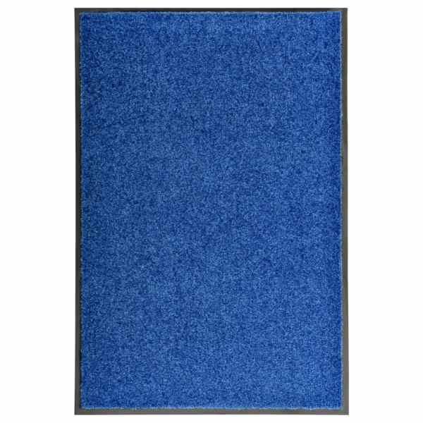 vidaXL Covoraș de ușă lavabil, albastru, 60 x 90 cm