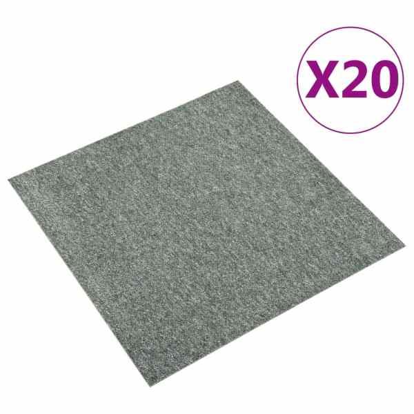 vidaXL Plăci de pardoseală, 20 buc., verde, 50 x 50 cm, 5 m²