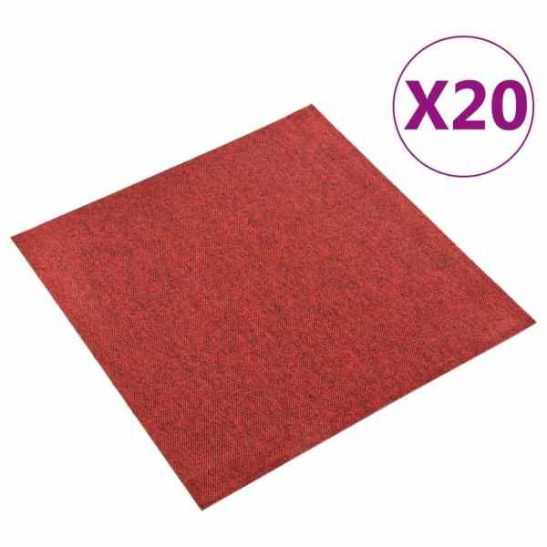 vidaXL Plăci de pardoseală, 20 buc., roșu, 50 x 50 cm, 5 m²