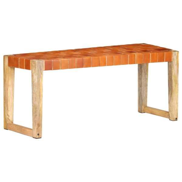 vidaXL Bancă, maro, 110 cm, piele naturală și lemn masiv de mango