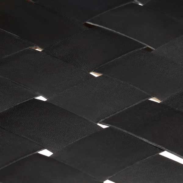 vidaXL Bancă, negru, 110 cm, piele naturală și lemn masiv de mango