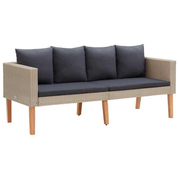 vidaXL Canapea de grădină cu 2 locuri, cu perne, bej, poliratan