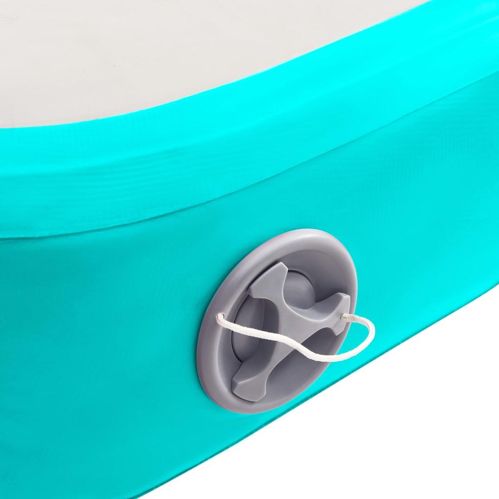 vidaXL Saltea gimnastică gonflabilă cu pompă verde 600x100x20 cm PVC