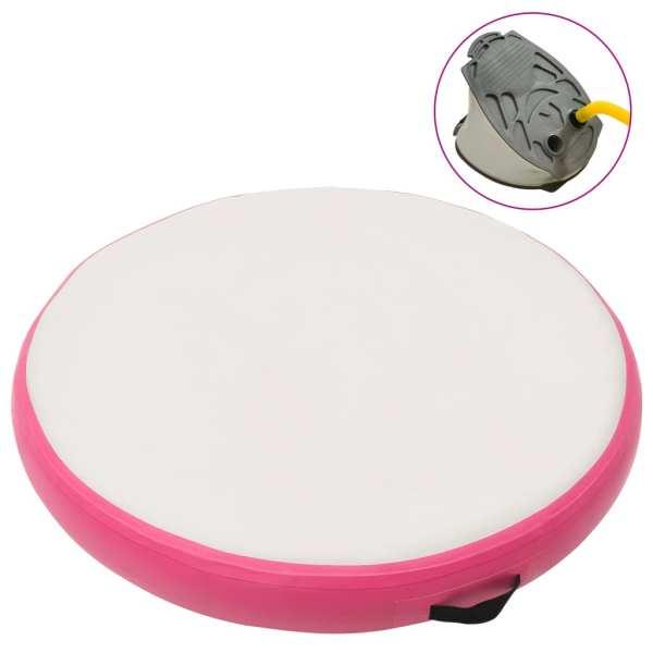 vidaXL Saltea de gimnastică gonflabilă cu pompă roz 100x100x10 cm PVC