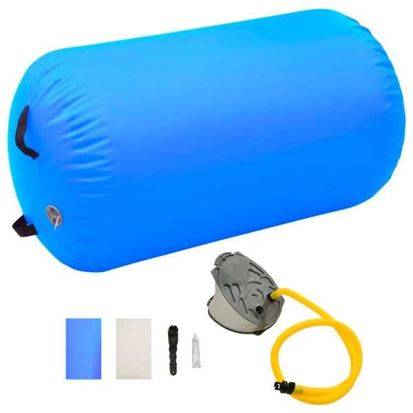 vidaXL Rulou de gimnastică gonflabil cu pompă, albastru, 100×60 cm PVC
