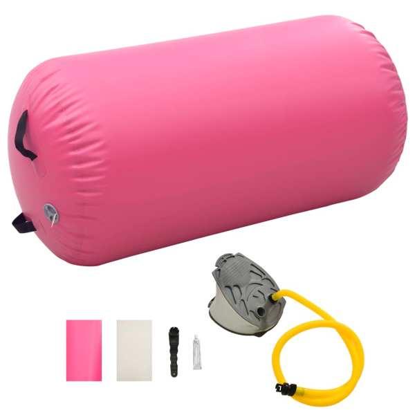 vidaXL Rulou de gimnastică gonflabil cu pompă, roz, 120 x 75 cm, PVC