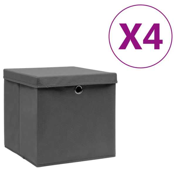 vidaXL Cutii depozitare cu capac, 4 buc., gri, 28x28x28 cm