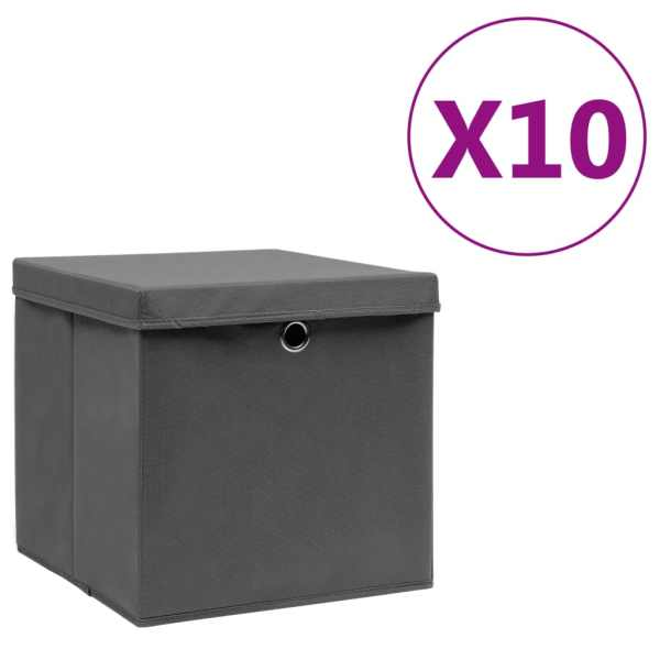 vidaXL Cutii depozitare cu capac, 10 buc., gri, 28x28x28 cm