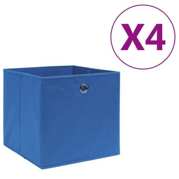 vidaXL Cutii depozitare, 4 buc., albastru, 28x28x28 cm, textil nețesut