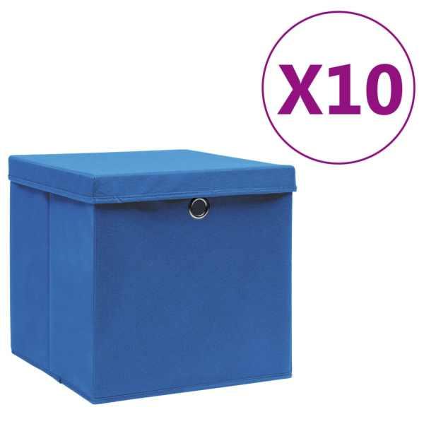 vidaXL Cutii de depozitare cu capac, 10 buc., albastru, 28x28x28 cm
