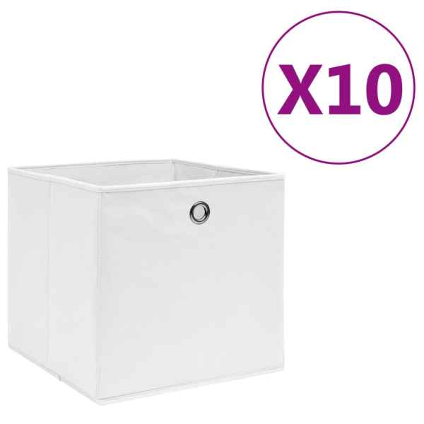 vidaXL Cutii depozitare, 10 buc., alb, 28x28x28 cm, material nețesut