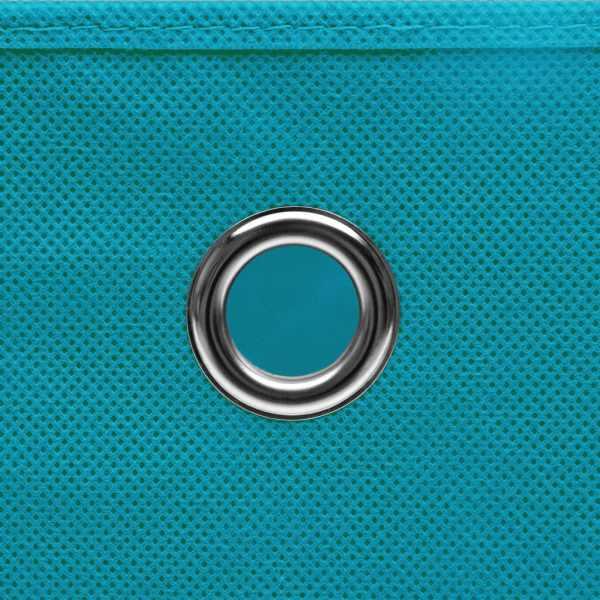 Cutii de depozitare cu capac, 10 buc., bleu, 28x28x28 cm