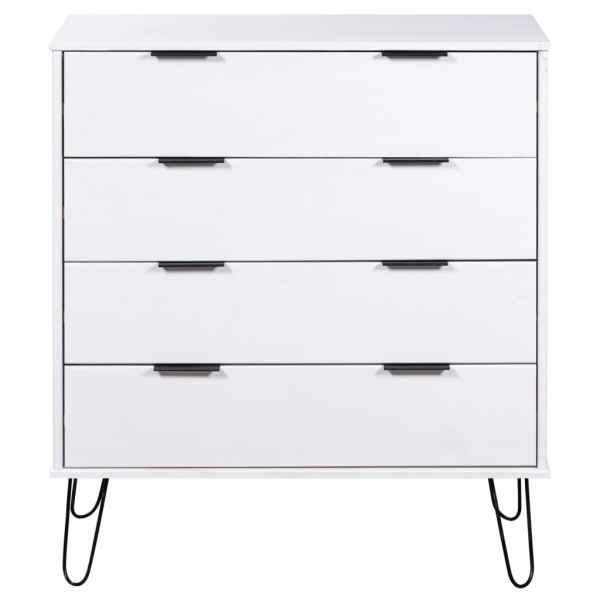 Comodă cu sertare alb 76,5×39,5×90,3 cm lemn masiv de pin