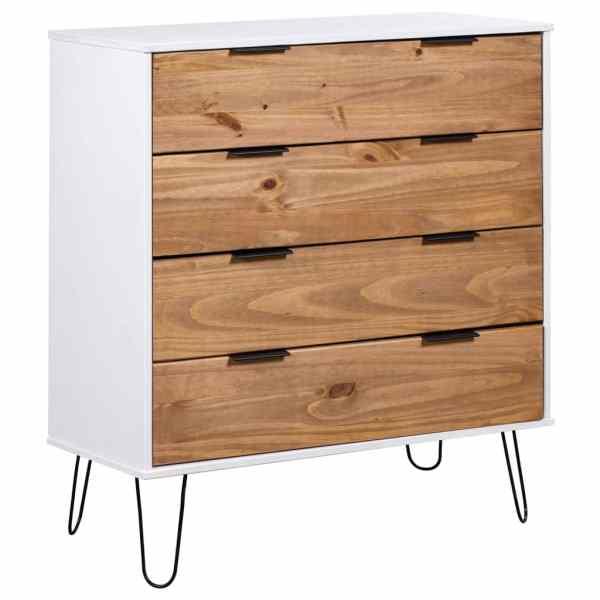 vidaXL Comodă cu sertare lemn deschis & alb 76,5×39,5×90,3 cm lemn pin
