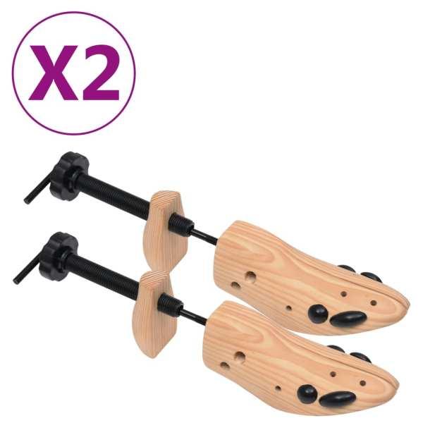 vidaXL Șanuri de pantofi, 2 perechi, mărime 41-46, lemn masiv de pin