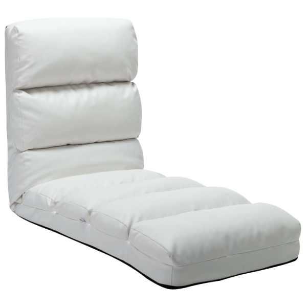 vidaXL Scaun de podea pliabil, alb, piele ecologică