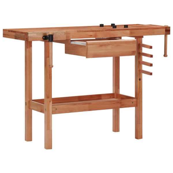 Banc de lucru tâmplărie cu sertar, 2 menghine, lemn esență tare
