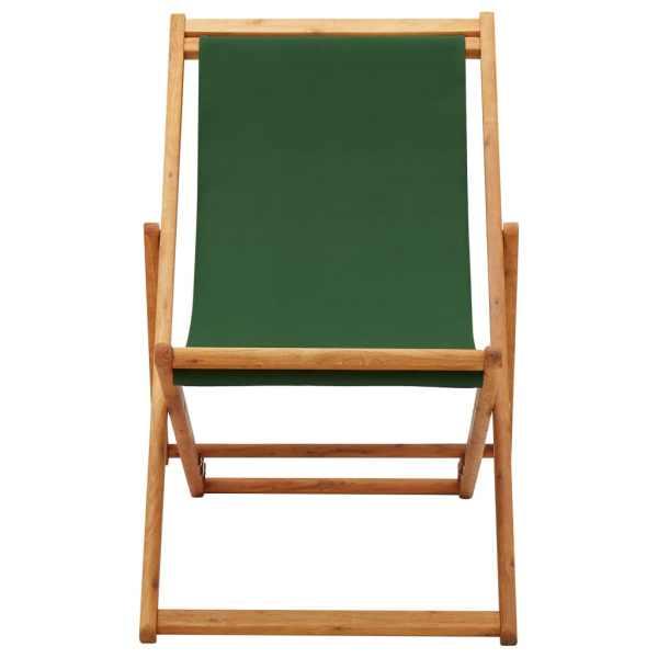 Scaun de plajă pliabil, verde, lemn de eucalipt și țesătură