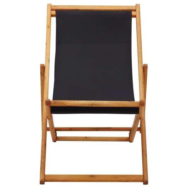 Scaun de plajă pliabil, negru, lemn de eucalipt și țesătură