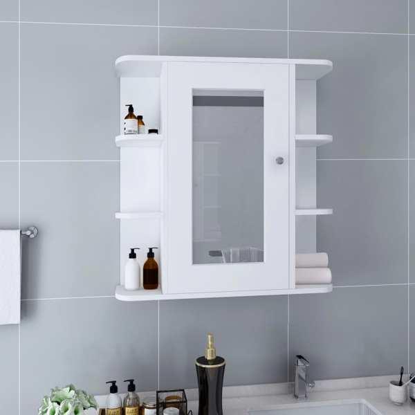 vidaXL Dulap de baie cu oglindă, alb, 66 x 17 x 63 cm, MDF