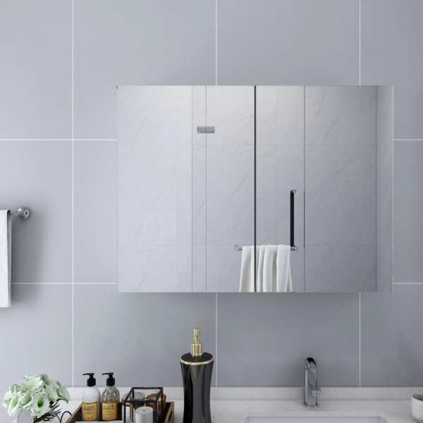 vidaXL Dulap de baie cu oglindă, alb, 80 x 15 x 60 cm, MDF