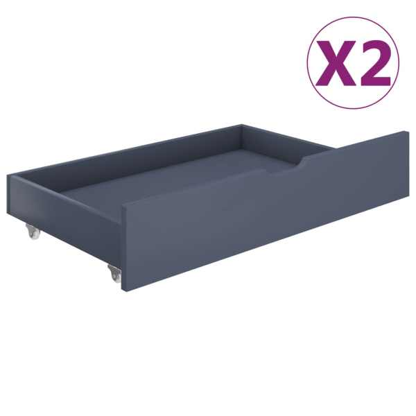 vidaXL Sertare pentru pat, 2 buc., gri deschis, lemn masiv de pin