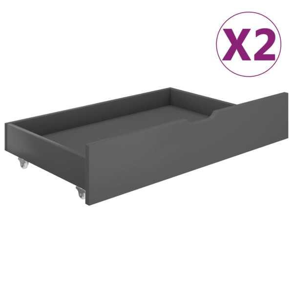 vidaXL Sertare pentru pat, 2 buc., gri închis, lemn masiv de pin