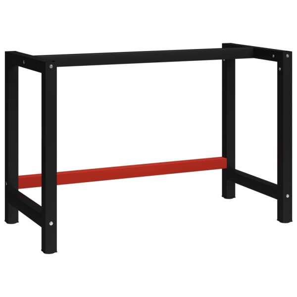 vidaXL Cadru metalic banc de lucru, 120x57x79 cm, negru și roșu