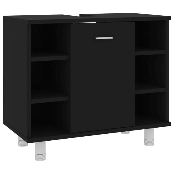 vidaXL Dulap de baie, negru, 60 x 32 x 53,5 cm, PAL
